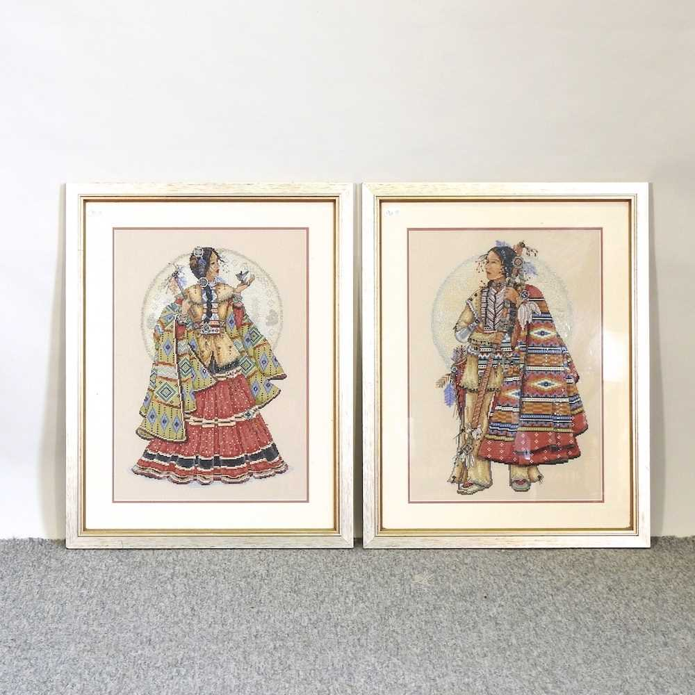 A pair of beaded woolwork portraits