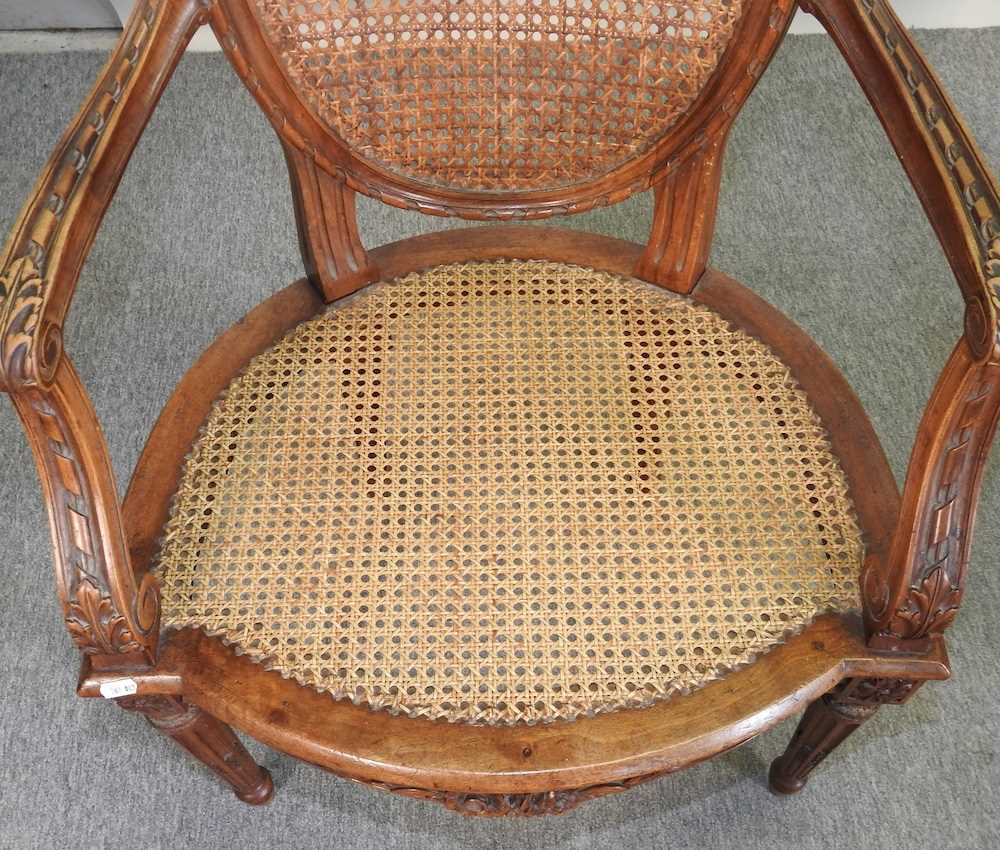 A pair of early 20th century Louis XVI style armchairs - Image 7 of 15