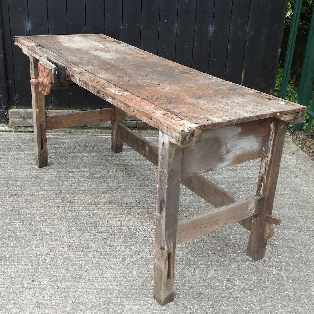 A wooden work bench