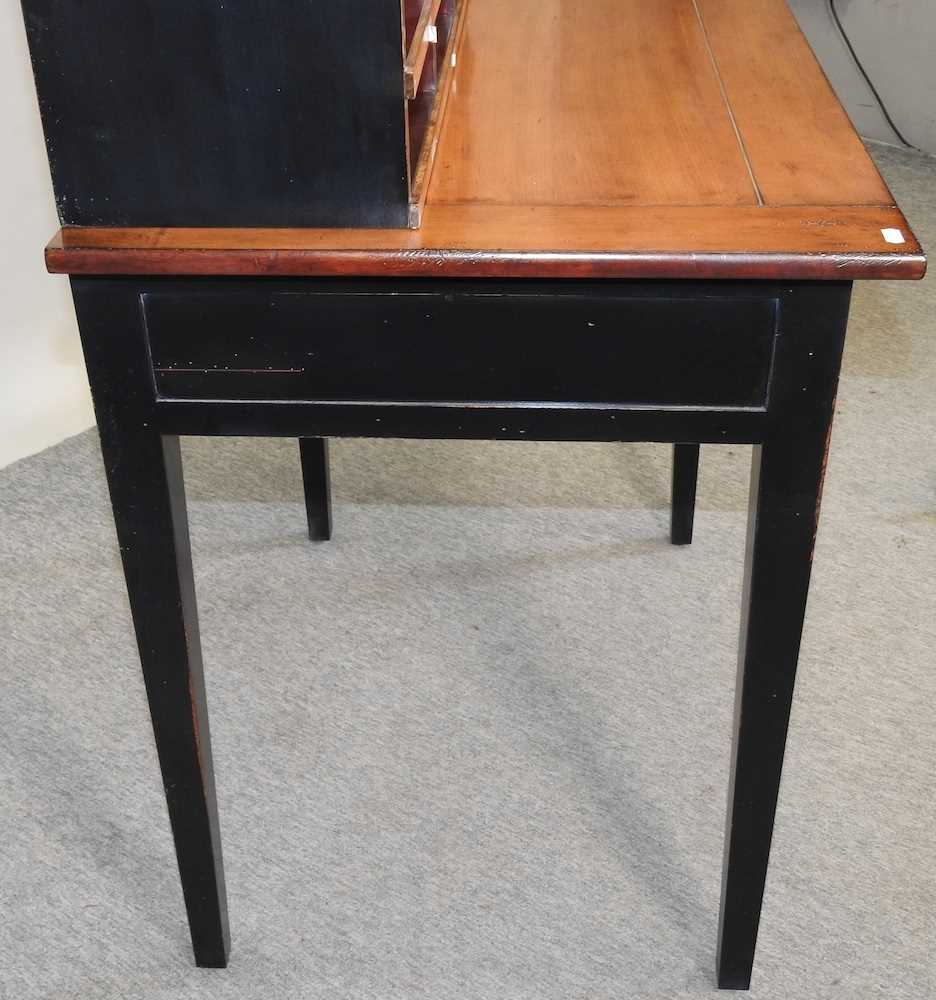 A reproduction French style fruit wood and black painted desk - Image 8 of 15