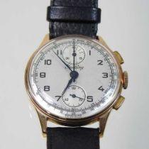 A Breitling 18 carat rose gold cased vintage gentleman's chronograph wristwatch