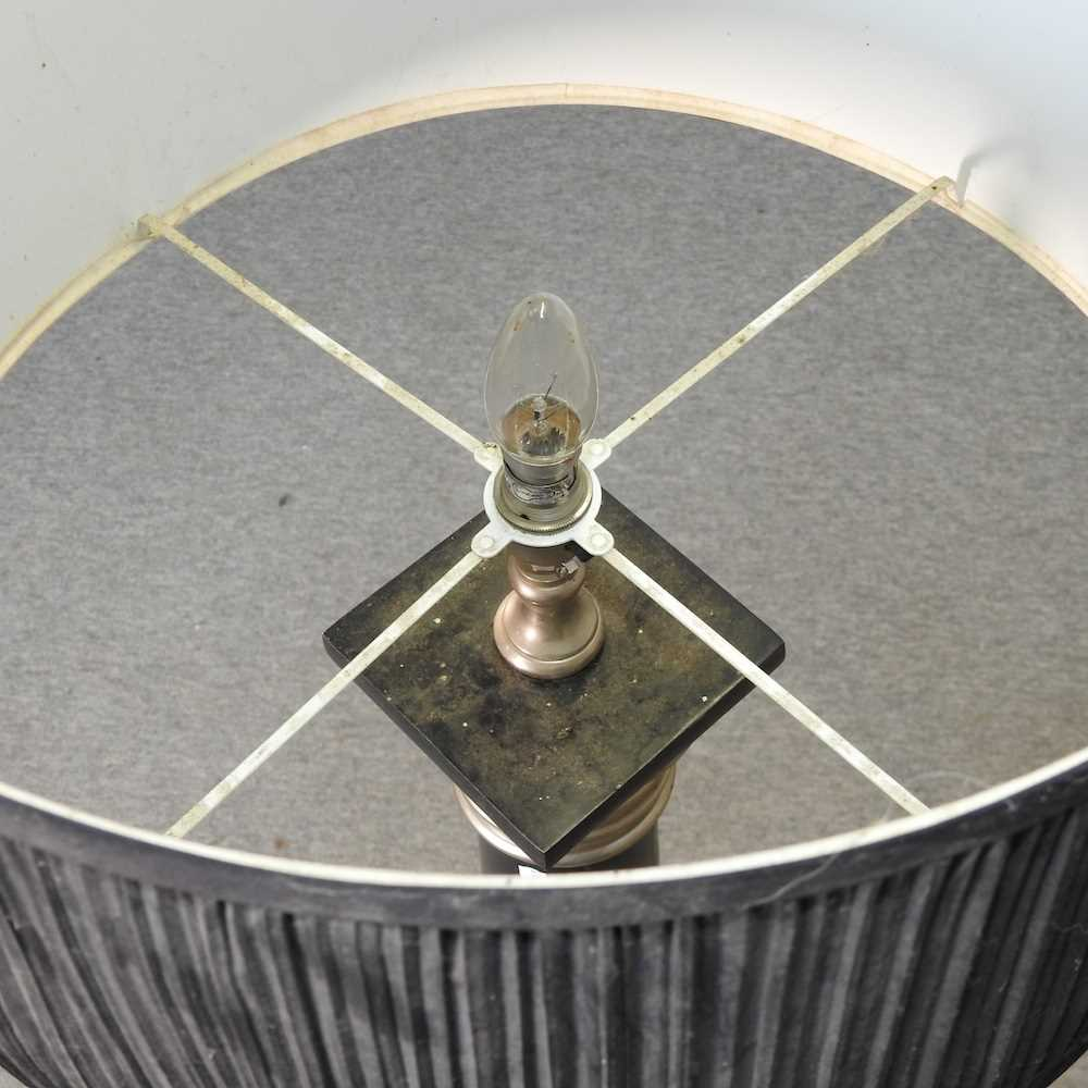A modern black painted standard lamp and shade - Image 7 of 7