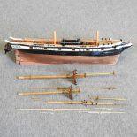 A wooden model ship