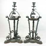 A pair of unusual 19th century Arts and Crafts table lamps