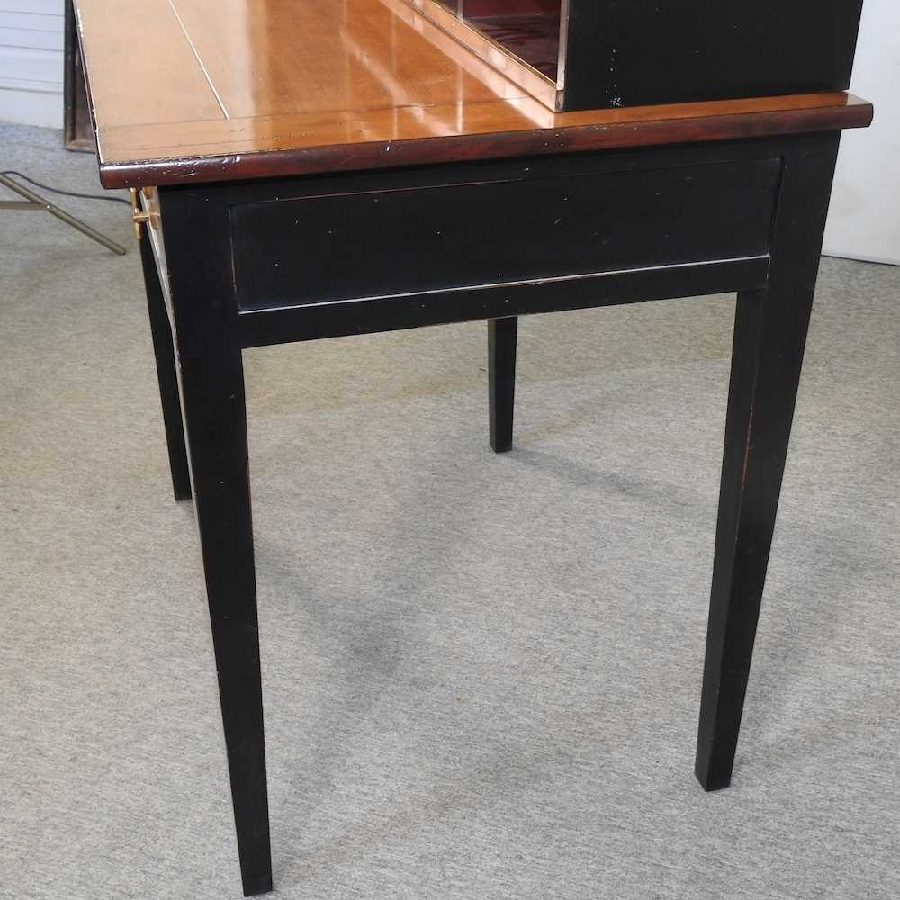 A reproduction French style fruit wood and black painted desk - Image 9 of 15
