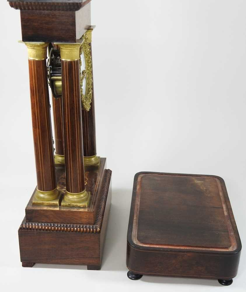 A Napoleon III rosewood and marquetry portico clock - Image 10 of 13