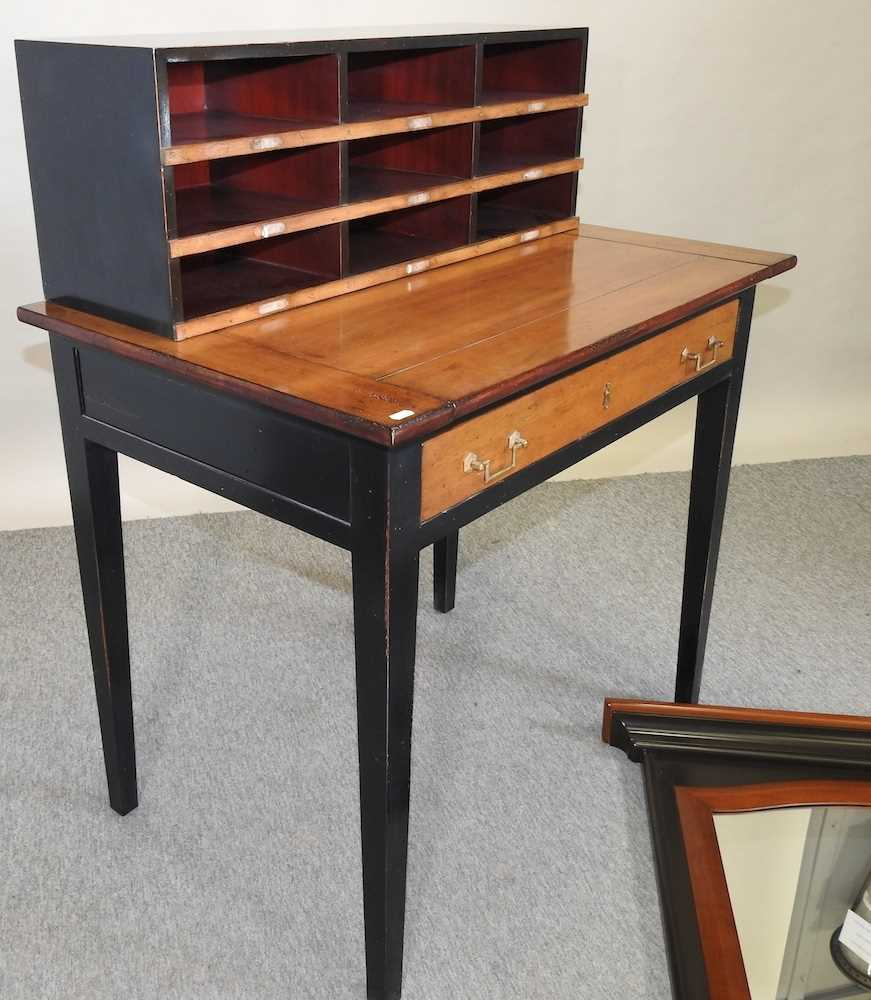 A reproduction French style fruit wood and black painted desk - Image 3 of 15