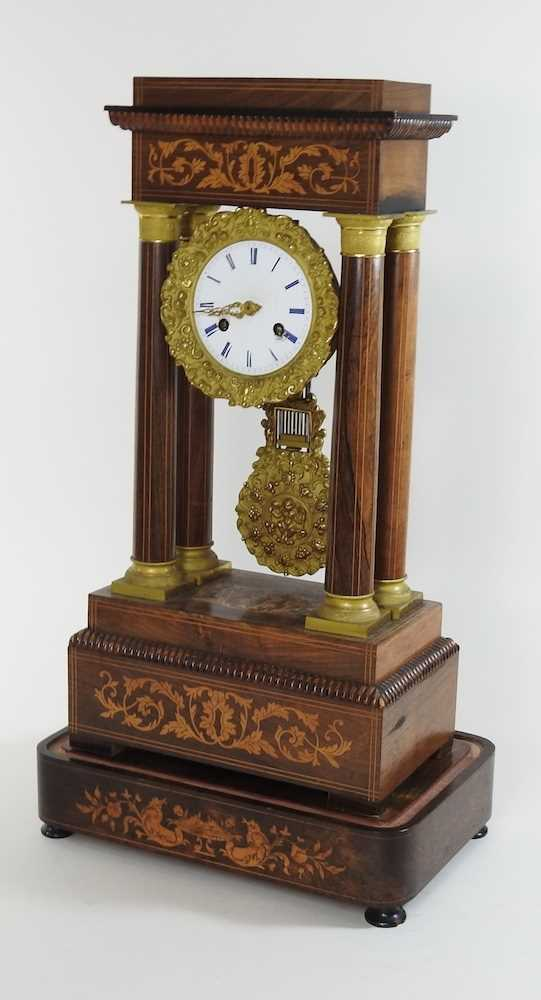 A Napoleon III rosewood and marquetry portico clock - Image 3 of 13