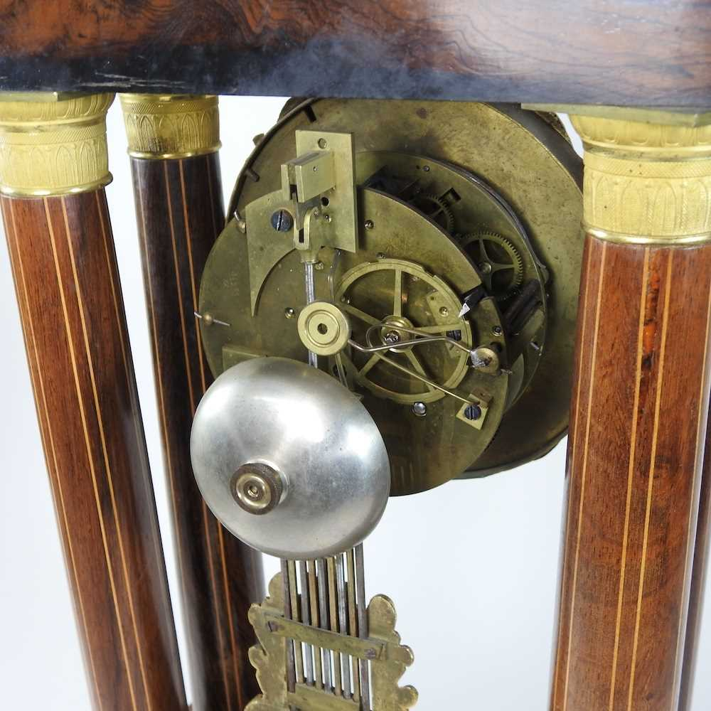 A Napoleon III rosewood and marquetry portico clock - Image 8 of 13