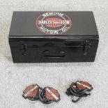 A set of six metal Harley Davidson style hooks,
