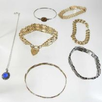A collection of gold plated jewellery