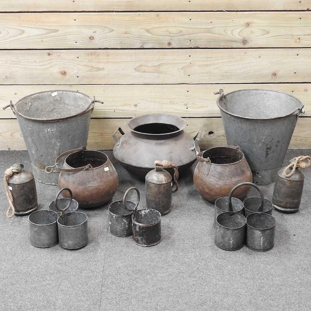 A metal cooking pot,