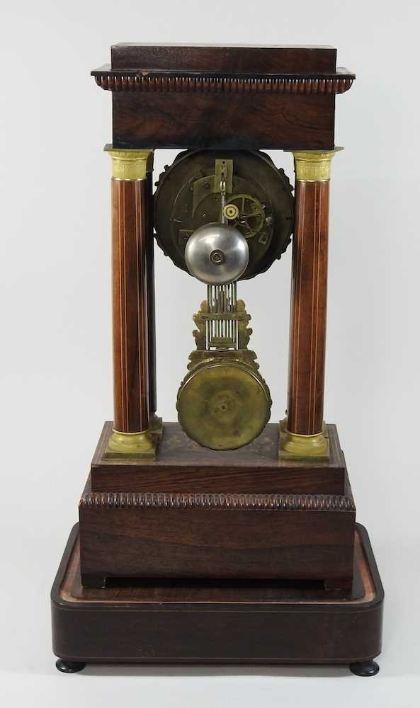 A Napoleon III rosewood and marquetry portico clock - Image 7 of 13