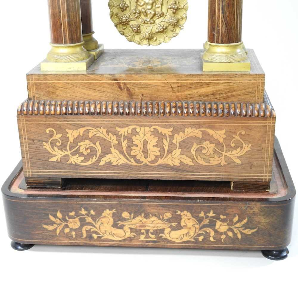 A Napoleon III rosewood and marquetry portico clock - Image 4 of 13