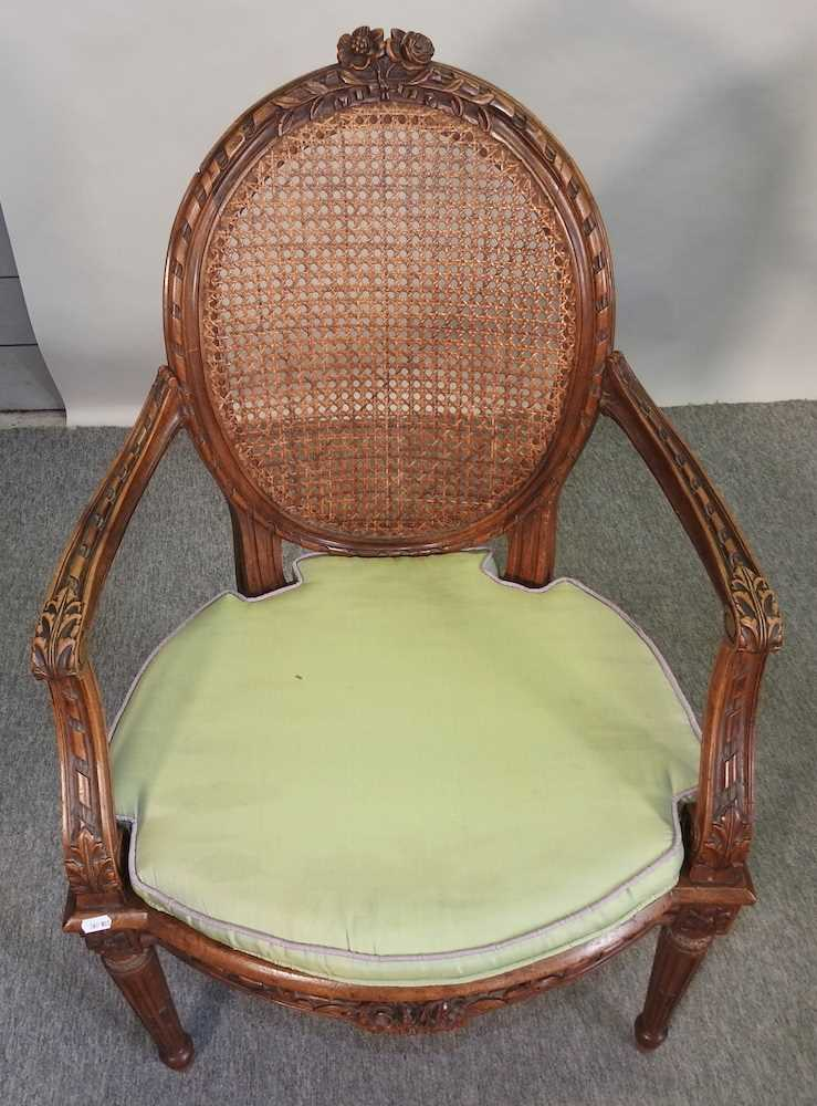 A pair of early 20th century Louis XVI style armchairs - Image 5 of 15