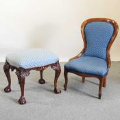 A Victorian style blue upholstered nursing chair