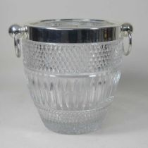 A crystal and silver plated wine cooler