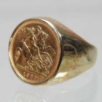 A 9 carat gold gentleman's ring