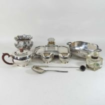 A collection of silver plated items