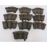 Ten WW2 German Pattern Ammunition Pouches black leather, triple ammunition pouches. Top flaps