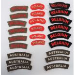 Various Nationality Titles consisting 6 x embroidery, white on khaki, Australia ... 6 x