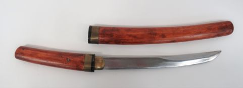 Japanese Yari Blade Converted to a Dagger 11 1/2 inch, single edged, slightly curved, heavy blade