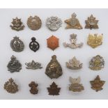 Pre 1952 Canadian Infantry Cap Badges including plated 2nd British Columbia ... White metal, KC