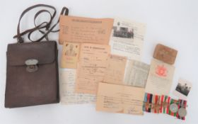 """WW2 Polish/French Map Case and Owner's Medals and Paperwork all relating to """"""""Lieutenant W Skierski"""""""