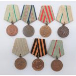 Seven Russian Defence WW2 Medals consisting Defence of Moscow ... Defence of the Caucasus ...