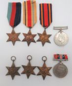 Two WW2 Medal Groups consisting 1939/45 Star, Africa Star, Burma Star, 1939/45 War medal ...
