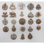 Various Damaged Cap Badges most with fittings absent including white metal, KC RAC ... Brass, KC