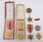 """Various Medals and Medallions including WW1, silver, Services Rendered badge. Number """"B32707"""" ..."""