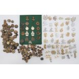 Quantity of British Collar Badges including bronzed, KC RAOC ... Brass, QC RASC ... Anodised, QC