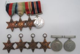 Two WW2 Medal Groups consisting 1939/45 Star, Atlantic Star, Africa Star, 1939/45 War medal.