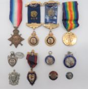 """WW1 Medals and Buffalo Medallions consisting 1914/15 Star named """"""""L-14976 Pte E G Buzzel R Fus"""""""" ..."""