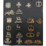 Small Selection of Victorian and Volunteer Collar Badges including white metal, Vic crown Derbyshire