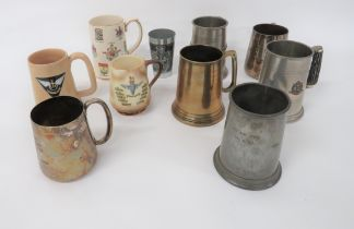 """Air Force and Other Tankards including """"Gieves Ltd"""", plated tankard engraved """"The Officers No 26 (T)"""
