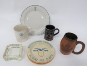 Air Force Tankards and Other Items consisting turned wooden tankard with carved, KC Royal Indian Air