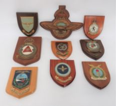 Royal Air Force Wall Crests including painted, plated KC RAF crest. Rear with maker details ...