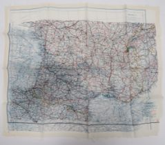"""WW2 RAF Silk Escape Map of Europe colour printed, double sided, """"C/D"""" map covering English"""