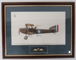 Signed Print of a FK8 of 8 Sqn RFC coloured print of an Armstrong Whitworth FK8 of No 8 Sqn RFC.
