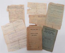 WW1 RFC/RAF Pilot's Flying Log Book and Ephemera consisting brown covered, pilot's flying log book