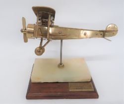 Fine Engineers Model of a WW1 Aircraft brass and steel model of a German bi-plane. Working