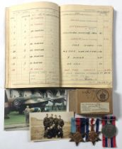 WW2 57 Squadron Wireless Operators Medals & Log Book. .Awarded to Sergeant R. Chisholm who completed