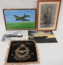 Selection of Aviation Art including 1944 embroidery, S.A.A.F. souvenir of Egypt ... Black and