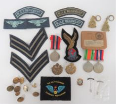 WW2 RAF Regiment Group of Medals & Badges. Awarded to Mr L Briggs, comprising: Defence and War Medal