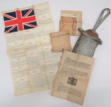 Scarce Far East Escape Pack consisting silk printed, language chart with Union Jack and phrases in