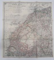 """RAF WW2 Silk Escape Map North Africa colour printed, double sided, """"K2/K3"""" silk map covering"""