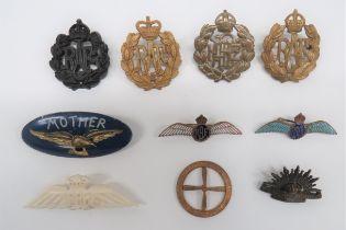 Royal Air Force Badges including black war economy, KC RAF cap badge ... Brass, KC RNZAF cap