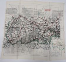 Rare Escape Routes Silk Map colour printed, double sided map with route from Oflag VIIC to Mojstrana